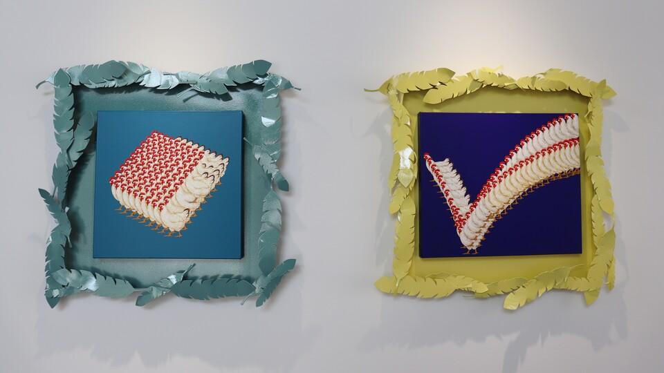 김경원 作 왼쪽부터 'Rhombus', 'Check' (사진=신초롱 기자)